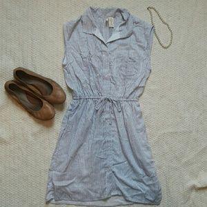 Striped Collar Button Dress